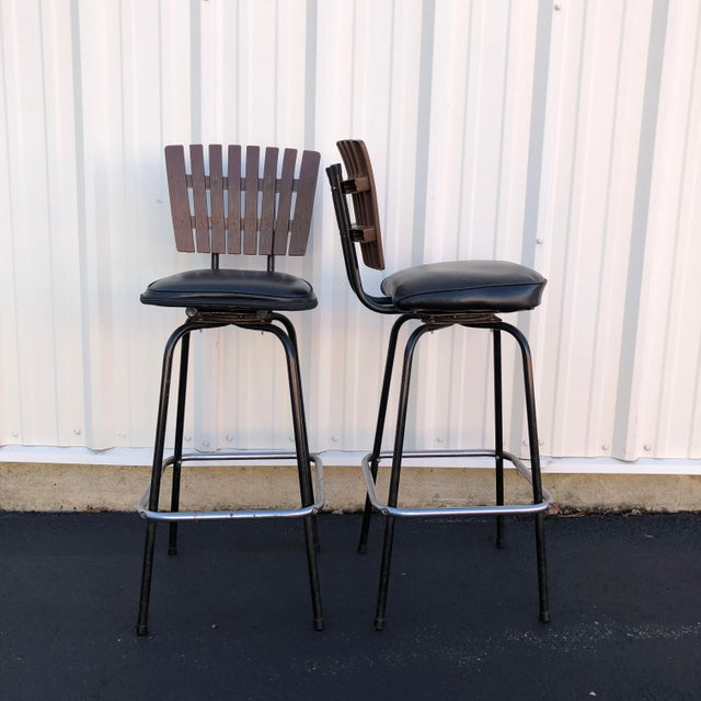 Black Swivel Bar Stools With Faux Wood Seat Backs - A Pair For Sale - Image 4 of 13