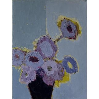 "Bill Tansey ""Lavender Flowers"" Abstract Floral Oil Painting on Canvas For Sale"