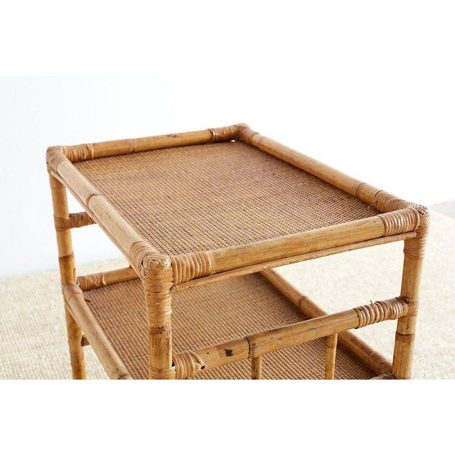Bamboo and Raffia Rolling Three-Tier Serving Cart For Sale In San Francisco - Image 6 of 13