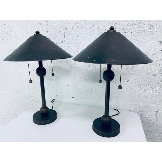 Mid-Century Modern Postmodern Brass Desk or Table Lamps - a Pair For Sale - Image 3 of 13
