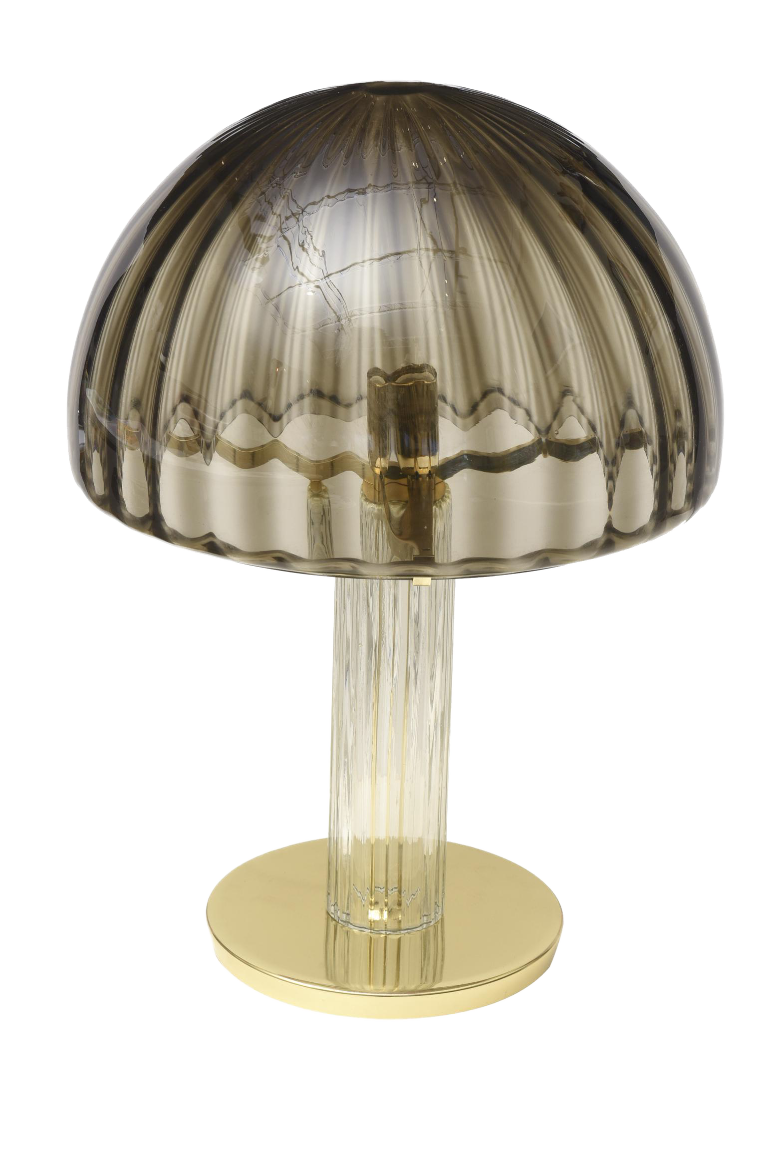 Italian Vintage Murano Vistosi Glass And Polished Brass Dome Table/Desk Lamp  For Sale