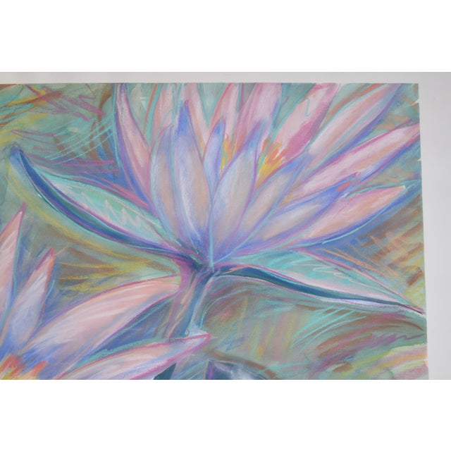 1990s Large Tropical Flowers Color Pastel Drawing #1 by Patricia McGeeney For Sale - Image 5 of 8