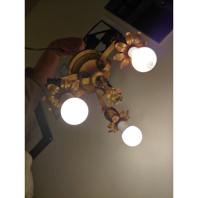 Vintage Bronze Flower Ceiling Light Fixture For Sale - Image 9 of 12