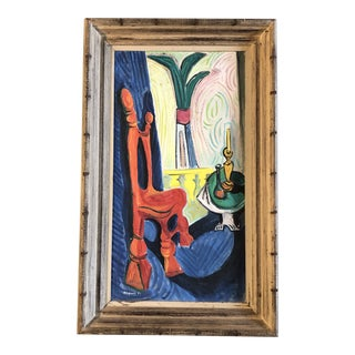 Vintage Modernist 1950's Still Life Original Painting Signed For Sale