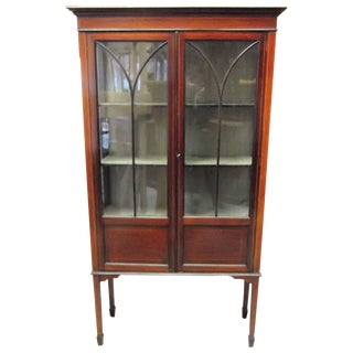 19th Century Mahogany Inlaid Display Case Cabinet For Sale