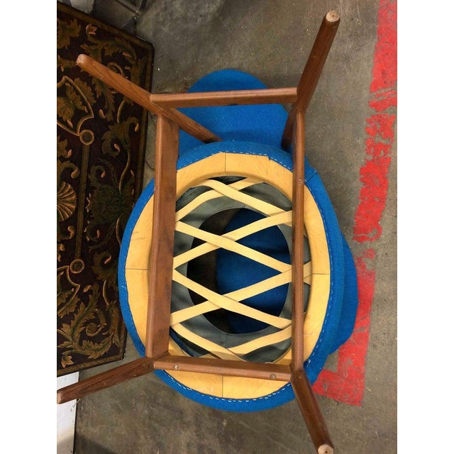 """Early example of the Hans Olsen """"Fried Egg"""" chair in Teak and original blue tweed produced by Bramin-Denmark circa 1956...."""