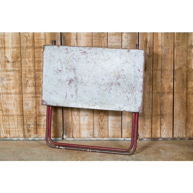 French Industrial Iron Folding Table with Red Base, circa 1920 For Sale - Image 4 of 6