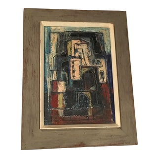 Donald Deskey Abstract Painting Signed 1950s Vintage For Sale