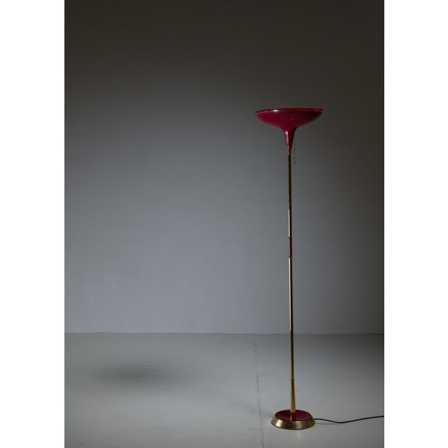 Italian Uplighter Floor Lamp in Wonderful Dark Red, 1950s - Image 2 of 3