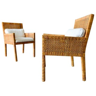 1970s Mid-Century Modern Cane Wrapped Armchairs - a Pair For Sale