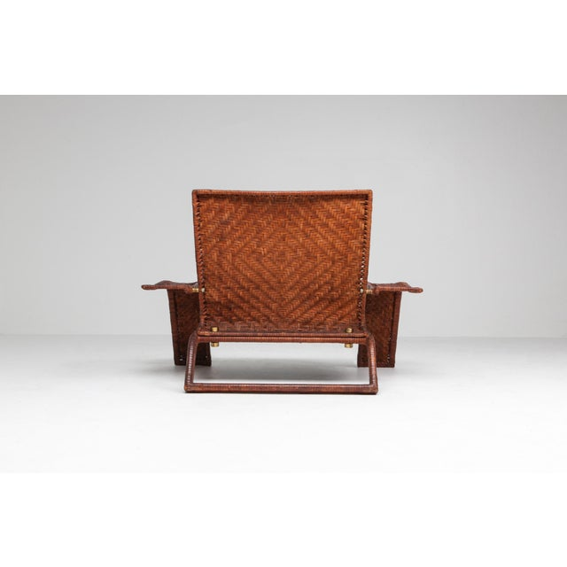 Postmodern 1970s Postmodern Lounge Chair in Woven Leather by Marzio Cecchi For Sale - Image 3 of 10