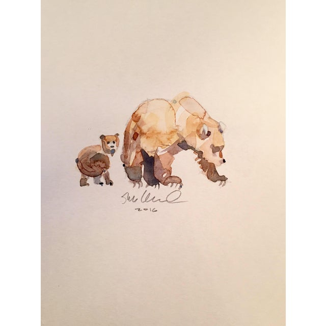 Contemporary Bear Cub & Mom Watercolor Painting - Image 1 of 2
