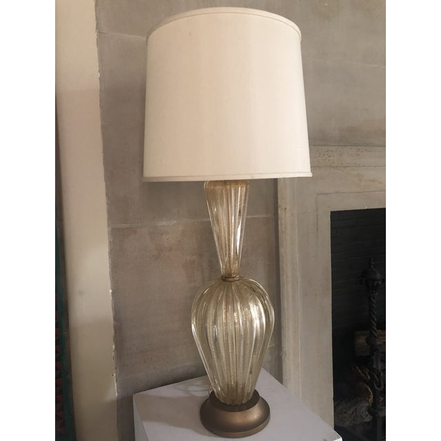 Transparent Barovier and Toso Murano Glass Lamp Circa 1950 For Sale - Image 8 of 9