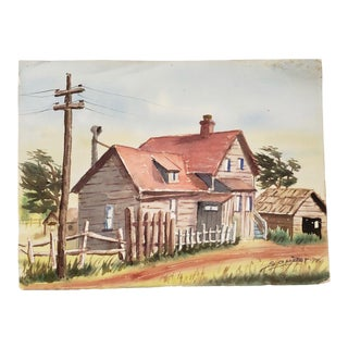 Vintage Watercolor of a Country Home C.1970s For Sale