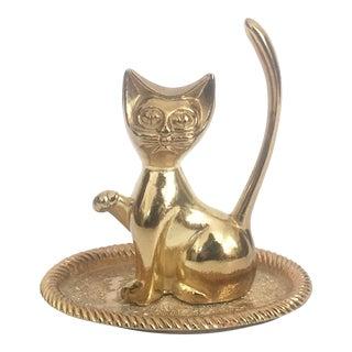 Vintage Brass Cat Ring Dish