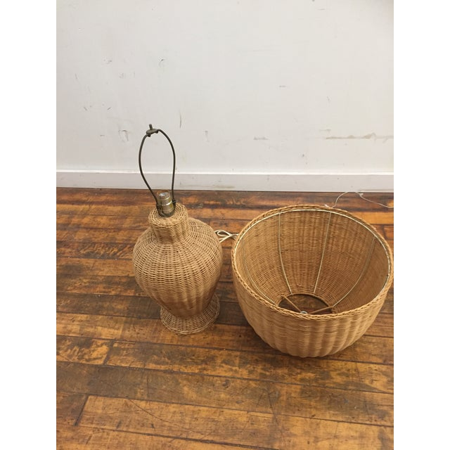 Boho Chic 1960s Vintage Wicker Lamp and Shade For Sale - Image 3 of 8