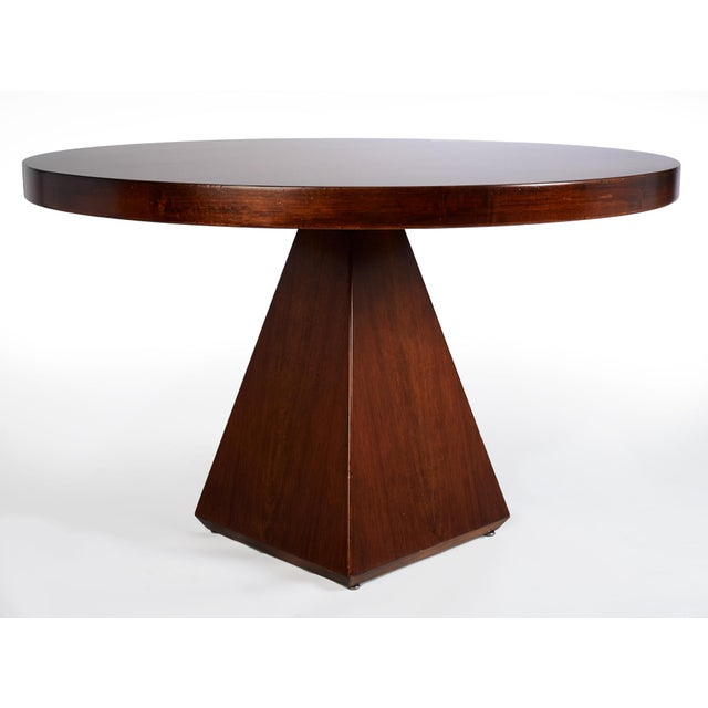 Saporiti 1960s Vintage Vittorio Introini for Saporiti Italian Geometric Walnut Dining Table For Sale - Image 4 of 6
