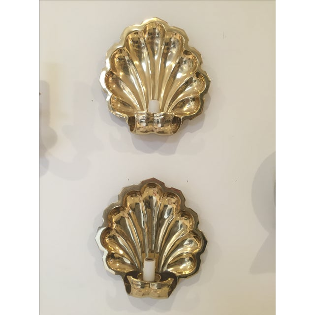 Brass-Plate Shell Wall Sconces - A Pair - Image 2 of 4