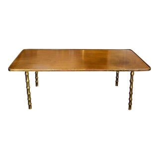 Mid Century Brass and Wood Coffee Table For Sale