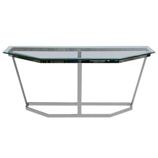 Milo Baughman Mid-Century Modern Polished Chrome & Glass Console For Sale