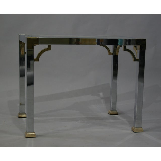 Mastercraft Chrome Brass Chinoiserie Side Table - Image 5 of 9