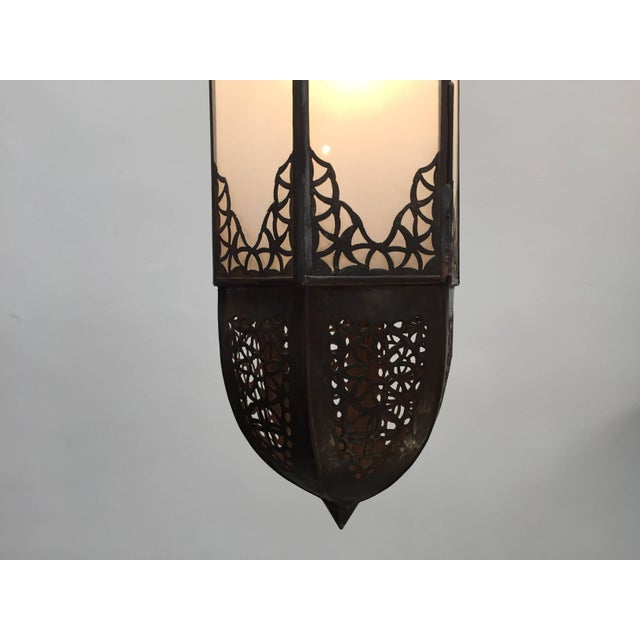 Handcrafted Moroccan Moorish metal and milky glass lantern, rewired ready to hang. Elegant and stylish milky glass...