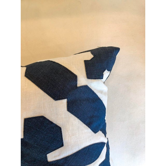 White With Navy Geometric Print Pillow For Sale - Image 4 of 6