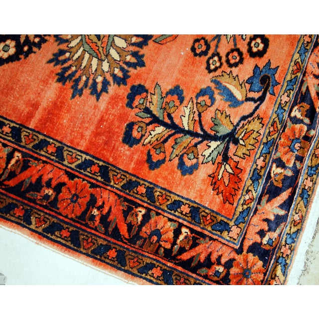Antique hand-woven Liliahn rug in navy blue, white and red colours. This rug is from the beginning of 20th century in...