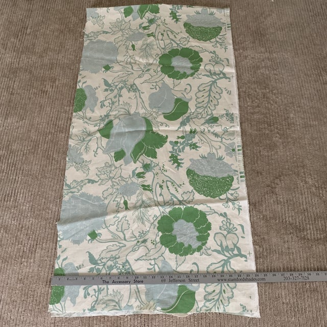 2010s Designer Blue and Green Floral Linen Fabric For Sale - Image 5 of 6