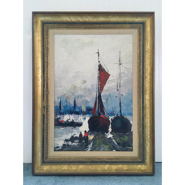 1960s Mid Century Impressionist Oil on Canvas Harbor Scene For Sale - Image 5 of 12