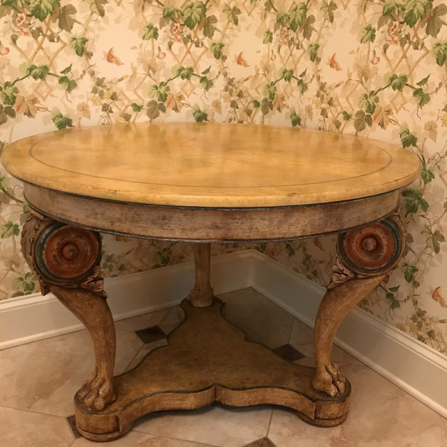 Orange Traditional Wooden Center Table For Sale - Image 8 of 8