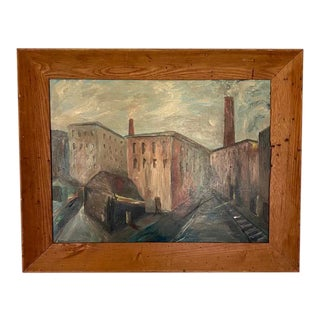 Mid Century Wpa Style City Scape Oil Painting in a Chestnut Frame - Mill Town For Sale