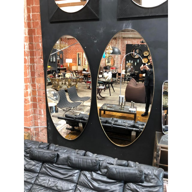 Oversize Oval Wall Mirrors, Italy, Late 1960s - a Pair For Sale - Image 9 of 10