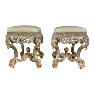 Pair of French Carved Silver Gilt & Leather Benches For Sale