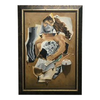 Contemporary Anthony Falbo Original Collage Style Oil Painting - Listed Cubist Artist For Sale