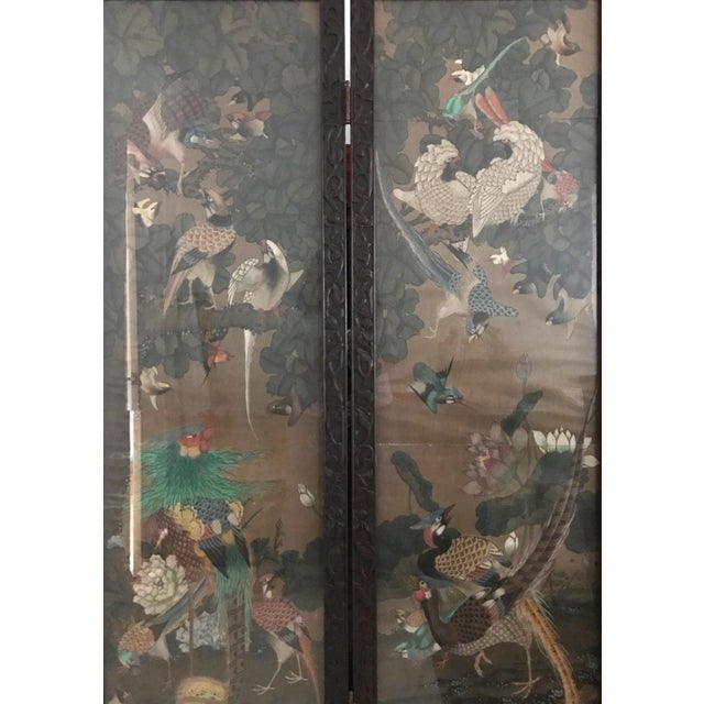 Antique Chinese Three Panel Folding Oriental Water Colour Screen / Room Divider For Sale In Tampa - Image 6 of 7