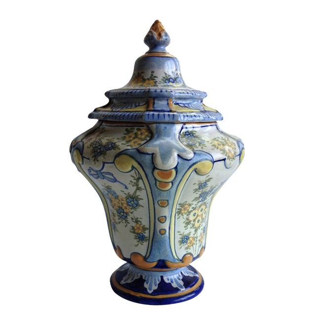 Hand-Painted Floral Italian Lidded Urn - Image 1 of 8