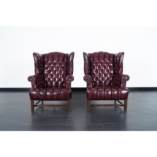 1960s Vintage Leather Tufted Wingback Chairs For Sale - Image 5 of 9