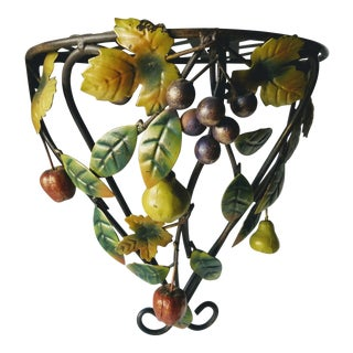 1960s Mid-Century Modern Italian Tole Wall Shelf With Fruit For Sale