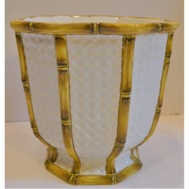Yellow Vintage Meiselman Italian Faux Bamboo Cachepot For Sale - Image 8 of 13