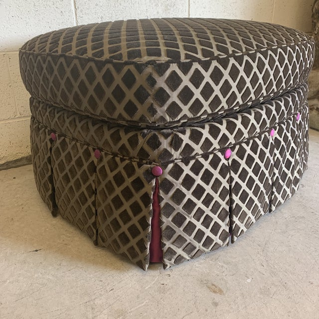 Hollywood Regency Chocolate Laser Cut Velvet and Pink Satin Ottoman For Sale - Image 3 of 11