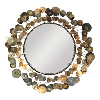 1960s Curtis Jere Raindrops Round Wall Mirror For Sale