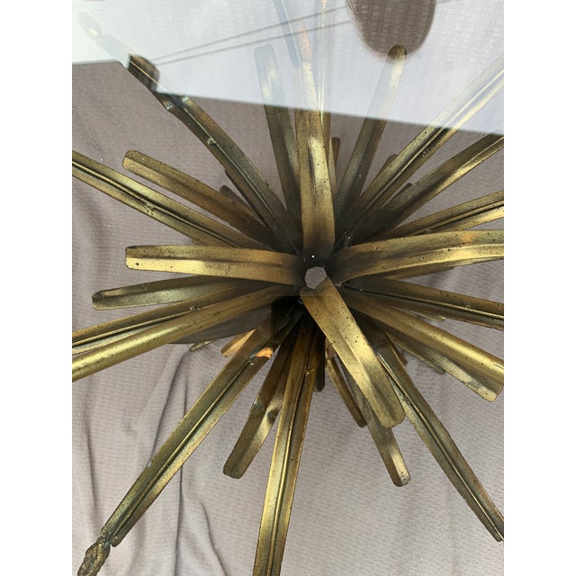 Mid 20th Century Vintage French Provincial Wheat Sheaf Glass Side Table For Sale - Image 5 of 13