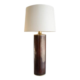 Buche Amber Woodgrain Cloisonne Table Lamp For Sale