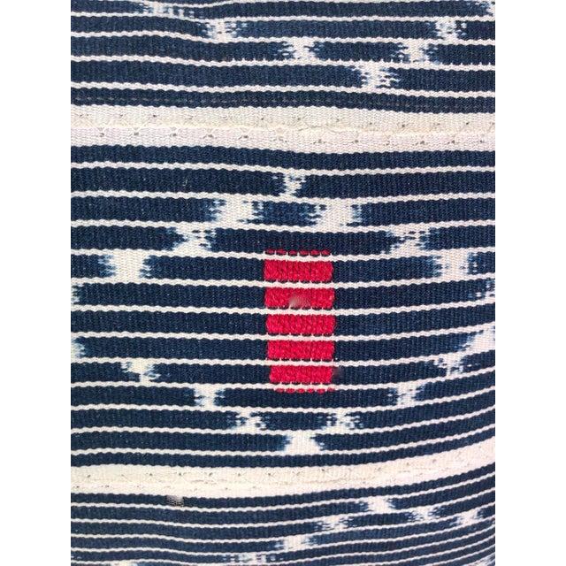 Tribal Denim Ikat Lumbar Pillows - a Pair For Sale - Image 4 of 6