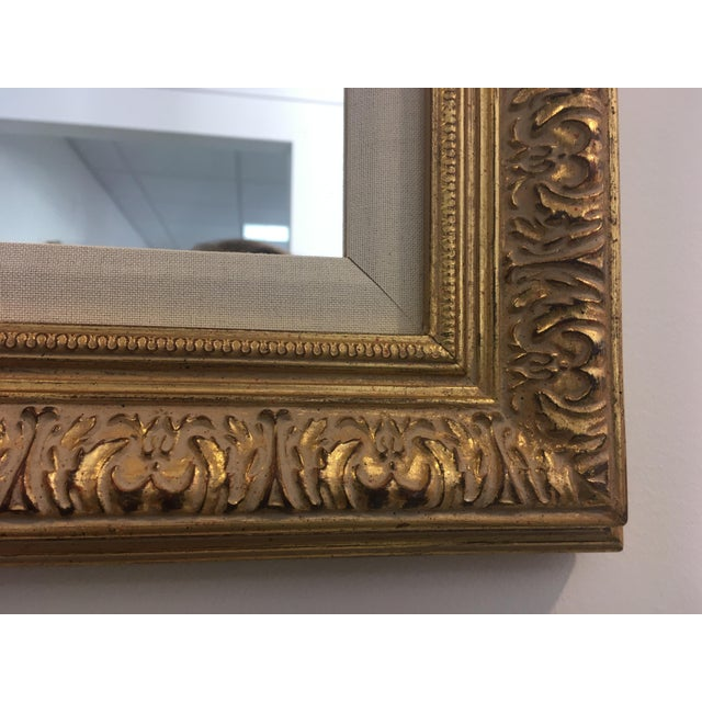 Art Nouveau Gold Leafing Mirror With Fabric Inner Frame For Sale - Image 3 of 5