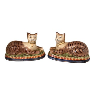 Ceramic Hand Painted Cats - A Pair