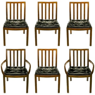 Six Bert England Forward Trend Walnut and Leather Dining Chairs For Sale