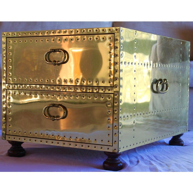 1970s Sarreid Ltd. Spanish Polished Brass Clad Studded Chest Coffee Table For Sale In San Diego - Image 6 of 12