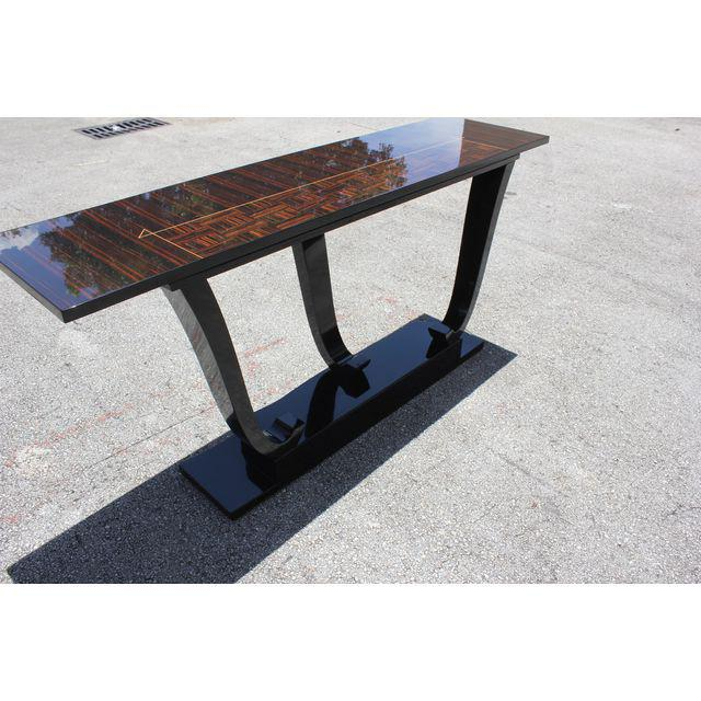 Brown French Art Deco Macassar Ebony / Black Lacquer Base Console Table, circa 1940s For Sale - Image 8 of 9